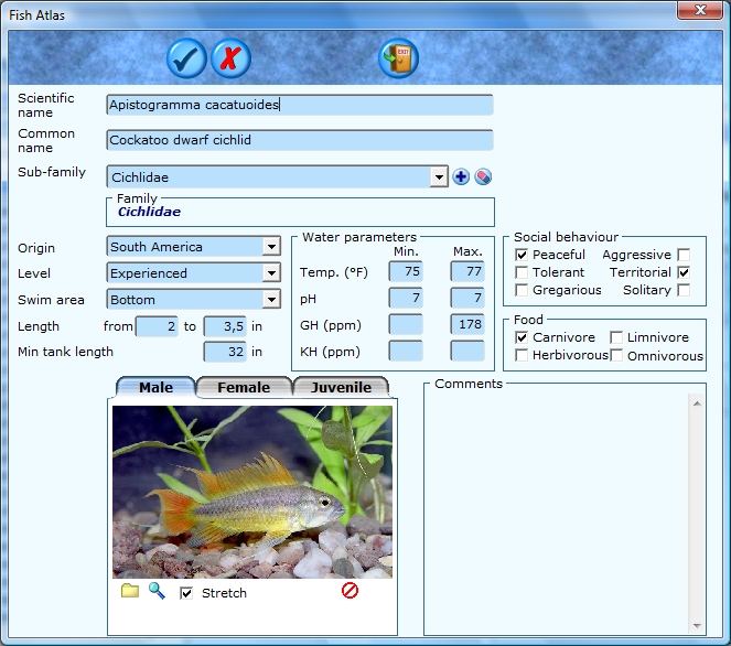 Customize the fish database